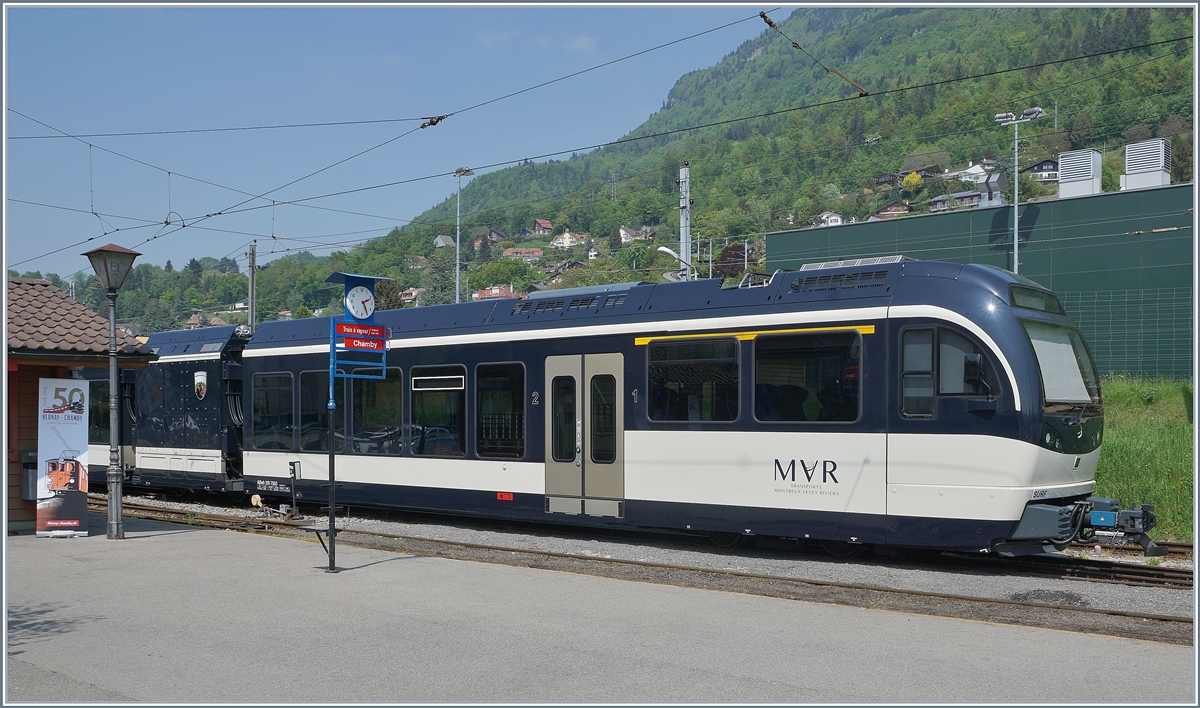 50 Jahre Blonay - Chamby Museumsbahn: der MVR ABeh 2/6 7503  Blonay-Chamby  in Blonay.