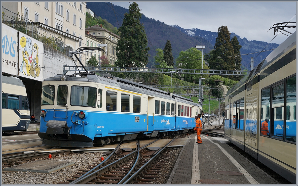 Der MOB ABDe 8/8 4002 VAUD in Montreux. 17. April 2017