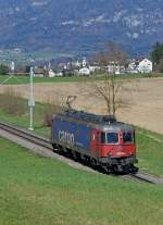 re-6-6/419008/sbb-sbb-cargo-lokzug-mit-der-re SBB: SBB CARGO-Lokzug mit der Re 620 055 4 COSSONAY bei Biberist am 8. April 2015.