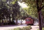 xe-44/601958/die-ablieferung-des-be88-13-am Die Ablieferung des Be8/8 13 am 28.Juni 1973: Nach der Ankunft im Stadion Wankdorf fährt der SZB Xe4/4 stadtwärts davon, um für die Rückfahrt nach Worblaufen aufs richtige Gleis zu gelangen.