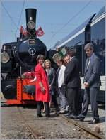 2018-jubilaeum-50-jahre-blonay-chamby-museumsbahn/609483/50-jahre-blonay---chamby-museumsbahn 50 Jahre Blonay - Chamby Museumsbahn: Und noch ein Bild, etwas weniger offiziell da sich die Gruppe neu formiert. 5. Mai 2018